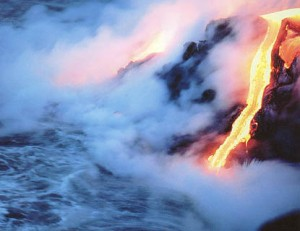 Lava Flowing into the Sea Forming Rock
